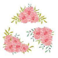 handgemalte Aquarell Dahlie Blumenrahmen Anordnung vektor