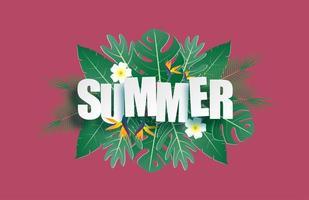 Hallo Sommer Banner mit tropischen Blättern