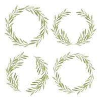 Aquarellgrünblattkranzrahmensammlung vektor