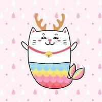 süße Katze Meerjungfrau mit Pastellfarbe für Weihnachten.