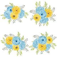 akvarell blå gul ros blommor arrangemang set