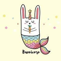 kanin bunnicorn sjöjungfru vektor