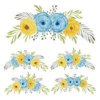 Aquarell gemaltes Rosenblumenkurvenbouquet vektor