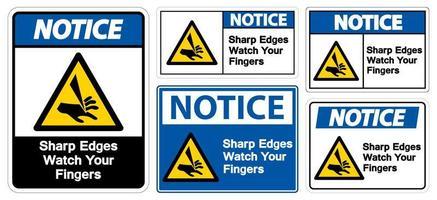 scharfe Kanten beobachten Ihre Finger Symbolzeichen vektor