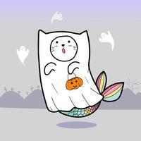 Geisterkatze für Halloween vektor