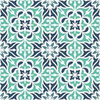 blaues dekoratives dekoratives Fliesenmuster vektor