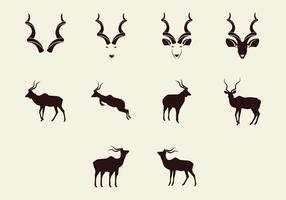 Kudu silhouette Icon-Set vektor