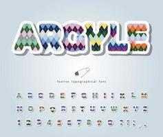 Argyle ABC Buchstaben und Zahlen. vektor