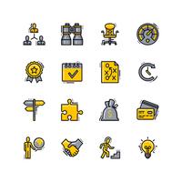 business platt linje ikoner vektor