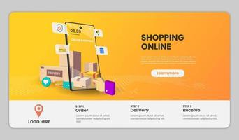 Online-Shopping-Website-Vorlagen mit Smartphone vektor