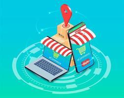 Online-Shopping auf Smartphone und Laptop vektor
