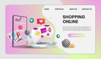 Online-Shopping-Website-Vorlage mit Telefon und Spielgerät vektor