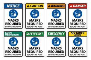 Über diesen Punkt hinaus erforderliche Masken vertikaler Zeichensatz vektor