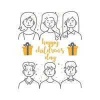 glückliche Kindertag Line Art Menschen