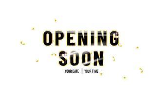 '' Eröffnung bald '' reflektierender Hintergrund