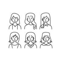 doodle uppsättning av kvinnlig karaktär