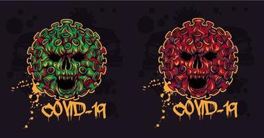 böse Coronavirus-Schädel für T-Shirts