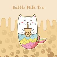 süße Katze Meerjungfrau trinken Blase Milchtee vektor