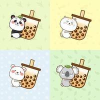 süße Tiere, die eine Bubble Tea Tasse umarmen