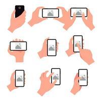 uppsättning mobiltelefon hand gester