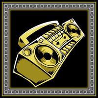 gelbe und weiße Retro Boombox Handzeichnung