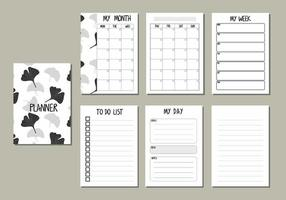 grau und weißes Blatt Design Planer Set
