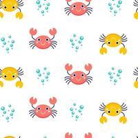 sömlösa mönster med krabbor och bubblor vektor