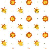 sömlösa mönster med lejon- och giraffhuvuden vektor