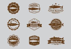 Meeresfrüchte Mackerel Badge vektor