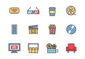 Free Cinema Icons Line Style Vektor