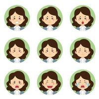 Geschäftsfrau Avatar mit verschiedenen Ausdrücken vektor