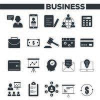 företag och förvaltning ikoner set