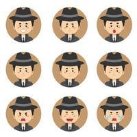 Detektiv-Avatar mit verschiedenen Ausdrücken
