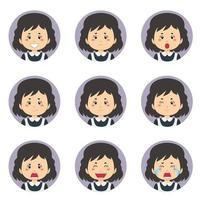weiblicher Hausmädchen-Avatar mit verschiedenen Ausdrücken