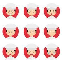 männlicher Koch Avatar mit verschiedenen Ausdrücken