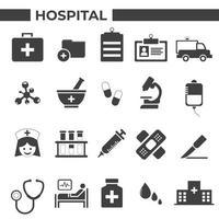 sjukhus och medicinska ikoner set vektor