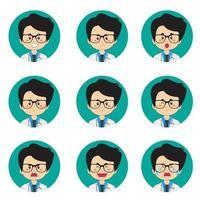 männlicher Arzt Avatar mit verschiedenen Ausdrücken