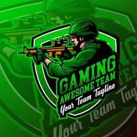 Esport Military Gaming Logo Abzeichen vektor