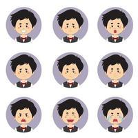 manlig hushållers avatar med olika uttryck
