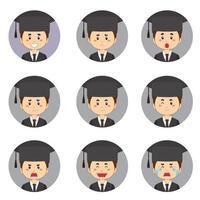 männlicher Studenten-Avatar mit verschiedenen Ausdrücken