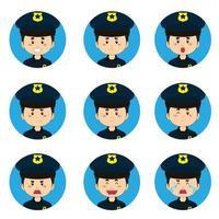 Polizist Avatar mit verschiedenen Ausdrücken