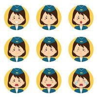 Stewardess Avatar mit verschiedenen Ausdrücken