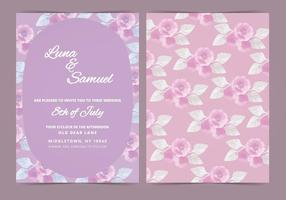 Vektor lila blomma bröllop inbjudan