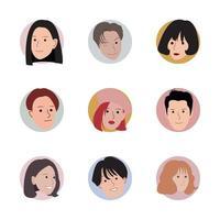 uppsättning av eleganta avatarhuvuden i cirklar