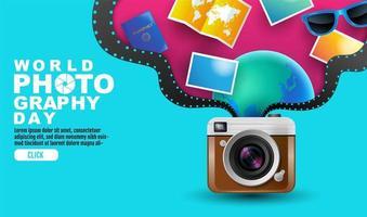 Weltfotografie-Tagesplakat mit Elementen, die von der Kamera kommen vektor