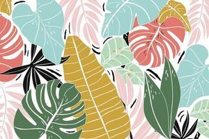 trendig sammansättning av färgglada tropiska blad vektor