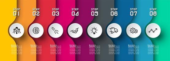 bunte gekrümmte Ebene Infografik mit Symbolen in Kreisen