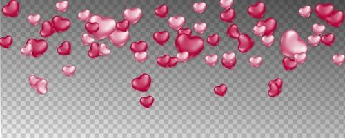 rosa fallende Herzen auf transparentem Muster vektor