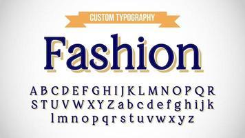 blau mit gelbem Schatten Vintage Serifen Typografie