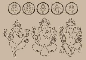 Ganesha kontur symbol vektor